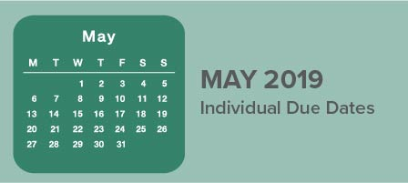 May 2019 Individual Due Dates | Hays CPA